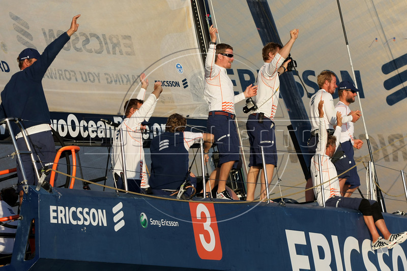 Members of the Ericsson 3 boat celebrate upon their first place arrival of leg 5 of the Volvo Ocean Race in Rio de Janeiro, March, 26, 2009. The(Australfoto/Douglas Engle)