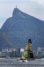 """Yacht Green Dragon take part in the Rio de Janeiro in-port race during the 2008-2009 Volvo Ocean Race at Guanabara bay, Rio de Janeiro, Brazil, April 4, 2009. In the background, the Corcovado mountain with the """"Christ the redeemer"""". The Spanish boat """"Telefonica Blue"""" won the competition. (Austral Foto/Renzo Gostoli)"""