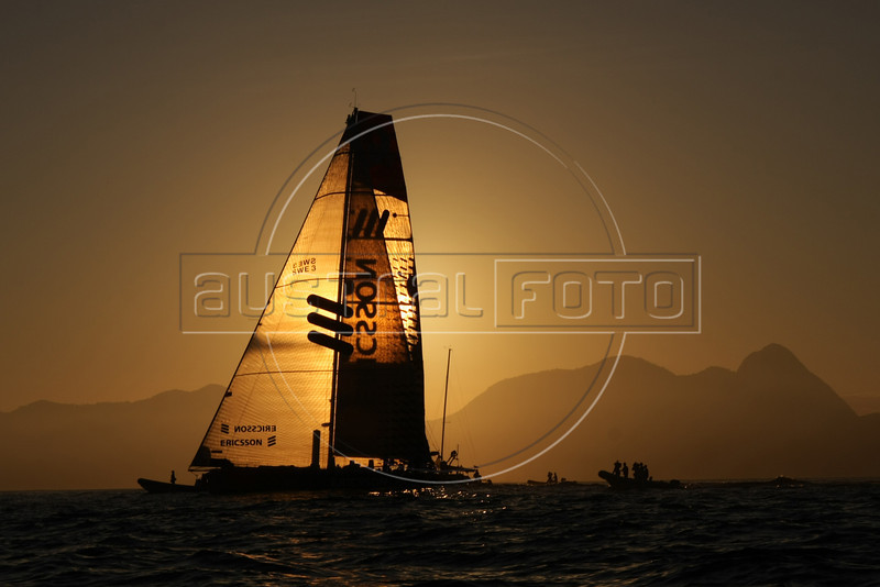 The Ericsson 3 boat  upon it's first place arrival of leg 5 of the Volvo Ocean Race in Rio de Janeiro, March, 26, 2009. (Australfoto/Douglas Engle)