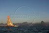 The Ericsson 3 boat passes the famous Sugarloaf Mountain upon their first place arrival of leg 5 of the Volvo Ocean Race in Rio de Janeiro, March, 26, 2009. (Australfoto/Douglas Engle)