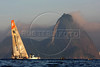 The Ericsson 3 boat passes the famous Sugarloaf Mountain upon their first place arrival of leg 5 of the Volvo Ocean Race in Rio de Janeiro, March, 26, 2009.(Australfoto/Douglas Engle)