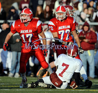 12/6/2009 Mike Orazzi | Staff Berlin's Kyle Connolly (17) celebrates after his sack of Bethel QB William Rameriz (7) during a 46-6 Berlin win over Bethel in the Class M football playoff on Sunday at Municipal Stadium in Waterbury.