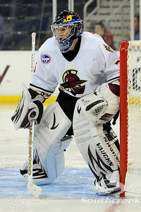 Gwinnett goalie Billy Sauer (#36) waits for the puck to come his way in ECHL Hockey action between South Carolina and Gwinnett.  South Carolina defeated Gwinnett 5-2 in the game at The Arena at Gwinnett in Duluth, GA.