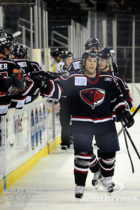 South Carolina players give each other high fives after scoring a goal in ECHL Hockey action between South Carolina and Gwinnett.  South Carolina defeated Gwinnett 5-2 in the game at The Arena at Gwinnett in Duluth, GA.