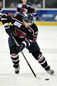South Carolina forward Nikita Kashirsky (#17) is on the attack in ECHL Hockey action between South Carolina and Gwinnett.  South Carolina defeated Gwinnett 5-2 in the game at The Arena at Gwinnett in Duluth, GA.