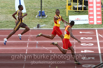 "There is ""end zone"" celebration even on the track. Truth be told, they had great reason to celebrate as their high school (Wolmers Boys) won the championships in Jamaica."
