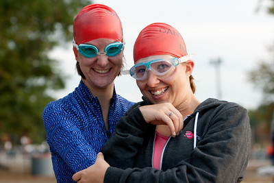 Abby and Gennie with goggles.