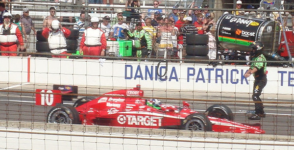 Winner Dario Franchitti heads to victory lane.  This image is released under the Creative Commons Attribution-Share Alike 3.0 Unported License.
