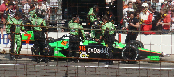 Danica Patrick exits her car after the race