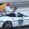 Dario Franchitti, Ashley Judd, and Chip Ganassi taking a victory lap in the pace car.