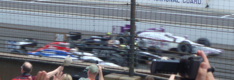 Row three heading towards the green flag. Top to bottom: Graham Rahal, Ed Carpenter, Hideki Mutoh