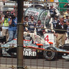 Second-place finisher Dan Wheldon in his pit after the race.