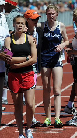 Kelley Robinson, right, of Nederland was second in the 2A 1600 meters on Saturday. Johanna Reed, left,  of Paonia, was the winner.<br /> Cliff Grassmick / May 22, 2010