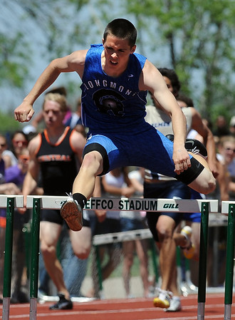 Aaron Praska of Longmont was second in the 4A 300 meter hurdles at state track on Saturday in Lakewood.<br /> Cliff Grassmick / May 22, 2010