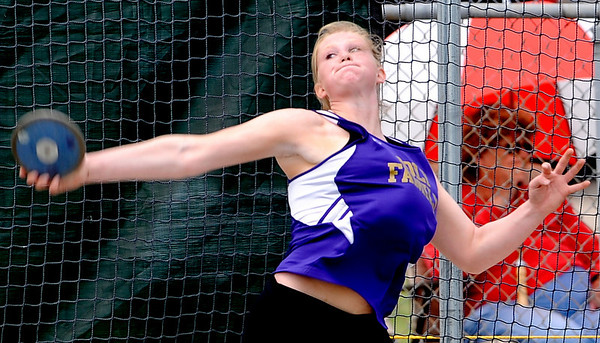 Holy Family's Alexia Gerry throw in the Women's 3A Discus during the State Track Championships at Jefferson County Stadium in Lakewood, Colorado May 21, 2010.  CAMERA/Mark Leffingwell