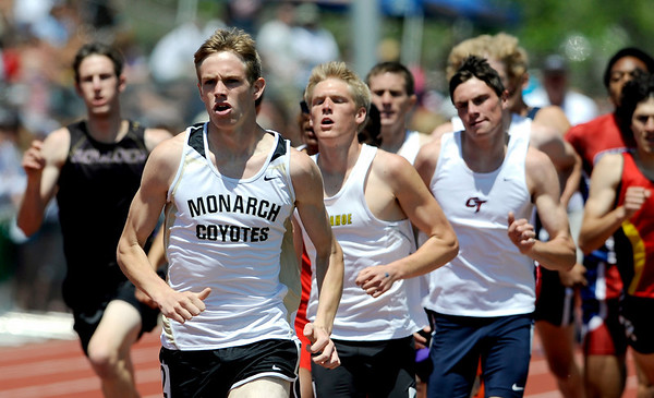 Monarch's Kirk Webb lead the pack for part of the first lap of the Men's 4A 800 during the State Track Championships at Jefferson County Stadium in Lakewood, Colorado May 21, 2010.  CAMERA/Mark Leffingwell