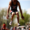 Fairview's Kenny Bell jumps for 22 feet 6 inches in the men's long jump during the State Track Championships at Jefferson County Stadium in Lakewood, Colorado May 21, 2010.  Bell pulled his hamstring and wasn't able to jump in later flights. CAMERA/Mark Leffingwell