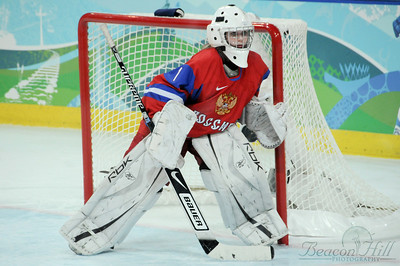 The Russian goalie prepares to block a USA onslaught on February 16, 2010.
