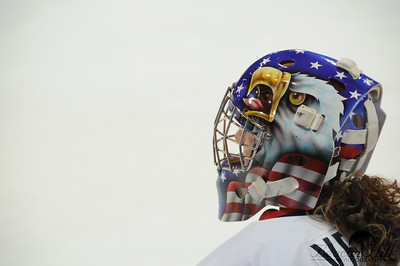 The US Women's Hockey team has a very patriotic goalie.