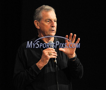"6/10/2010 Mike Orazzi | Staff Jim Calhoun speaks during the """"Life Lessons from Sports to Raise the Roof"" fundraiser for  Shepard Meadows Therapeutic Riding Center held at Bristol Central High School on Thursday night. University of Connecticut men's basketball coach Jim Calhoun was the featured speaker along with Dan Doyle, , founder of the Institute of International Sports and Tom Monahan, chief political correspondent for Channel 30 TV."