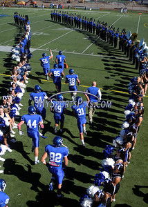 10/9/2010 Mike Orazzi | Staff CCSU takes the field at the start of Saturday's homecoming football game with Duquesne.