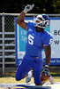 10/9/2010 Mike Orazzi | Staff<br /> CCSU's Josue Paul (5) after catching a long TD pass  during Saturday's homecoming football game.