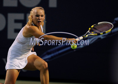 8/25/2010 Mike Orazzi | Staff Caroline Wozniacki during her 6-4, 6-1 win over Dominkia Cibulkova in a second round match on Stadium Court at the 2010 Pilot Pen tennis tournament at Yale University on Wednesday, August 25, 2010.