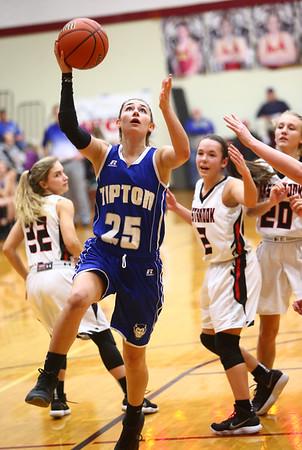 2-2-18<br /> Tipton vs Eastbrook girls sectional semifinal<br /> Tipton's Rachael Ressler shoots.<br /> Kelly Lafferty Gerber | Kokomo Tribune