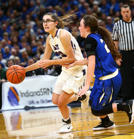 2-24-18<br /> Northwestern wins the 3A state championship against Greensburg 63-42. Madison Layden dribbles down the court.<br /> Kelly Lafferty Gerber | Kokomo Tribune