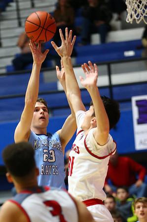 2-27-18<br /> Maconaquah vs West Lafayette boys basketball<br /> Mac's Bryce Ward shoots.<br /> Kelly Lafferty Gerber | Kokomo Tribune