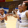 2-3-18<br /> Northwestern vs West Lafayette girls basketball sectional championship<br /> Seniors Morgan Mercer, Sarah Vas, and Kora Loer bring the sectional trophy to their teammates.<br /> Kelly Lafferty Gerber | Kokomo Tribune