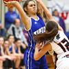 2-2-18<br /> Tipton vs Eastbrook girls sectional semifinal<br /> Tipton's Cassidy Crawford throws a pass.<br /> Kelly Lafferty Gerber   Kokomo Tribune