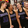 2-17-18<br /> Northwestern vs Fairfield semistate<br /> Madison Layden, Kora Loer, Sarah Vas, and Katie Neher celebrate after the game.<br /> Kelly Lafferty Gerber | Kokomo Tribune