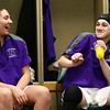2-24-18<br /> Northwestern wins the 3A state championship against Greensburg 63-42. Kendall Bostic, left, laughs as Stephanie Burns dances in the locker room before the game.<br /> Kelly Lafferty Gerber | Kokomo Tribune