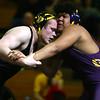 2-3-18<br /> Regional wrestling<br /> Peru's Avery Jones is beaten by Marion's Gabe Watkins in the 285.<br /> Kelly Lafferty Gerber | Kokomo Tribune