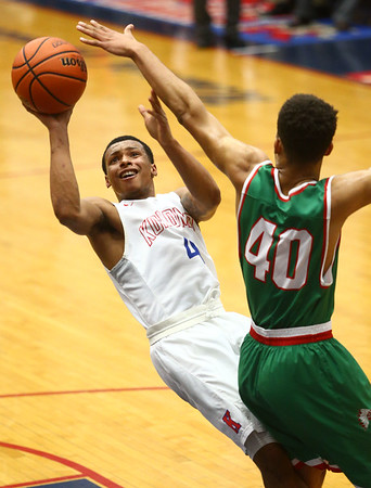 2-16-18<br /> Kokomo vs Anderson boys basketball<br /> Trajan Deckard puts up a shot.<br /> Kelly Lafferty Gerber | Kokomo Tribune