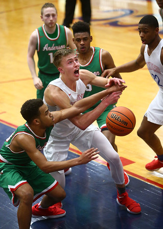 2-16-18<br /> Kokomo vs Anderson boys basketball<br /> Anthony Barnard goes after a loose ball.<br /> Kelly Lafferty Gerber | Kokomo Tribune
