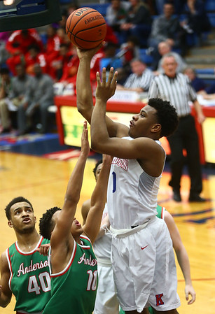 2-16-18<br /> Kokomo vs Anderson boys basketball<br /> Jeremy Baker puts up a shot.<br /> Kelly Lafferty Gerber | Kokomo Tribune