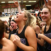2-17-18<br /> Northwestern vs Fairfield semistate<br /> Morgan Mercer, center, celebrates with her teammates and the student section after the semistate championship.<br /> Kelly Lafferty Gerber | Kokomo Tribune