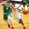 2-16-18<br /> Kokomo vs Anderson boys basketball<br /> Kokomo's Jayveon White tries to dribble by Anderson's Ethen Russell who gets called for a foul.<br /> Kelly Lafferty Gerber | Kokomo Tribune