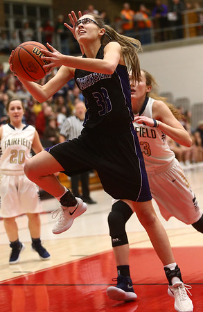 2-17-18<br /> Northwestern vs Fairfield semistate<br /> Madison Layden heads to the basket.<br /> Kelly Lafferty Gerber | Kokomo Tribune