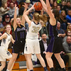 2-17-18<br /> Northwestern vs Fairfield semistate<br /> Katie Neher and Kendall Bostic bring the play defense against Fairfield.<br /> Kelly Lafferty Gerber | Kokomo Tribune