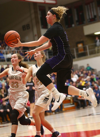 2-17-18<br /> Northwestern vs Fairfield semistate<br /> Taylor Boruff heads to the basket.<br /> Kelly Lafferty Gerber | Kokomo Tribune