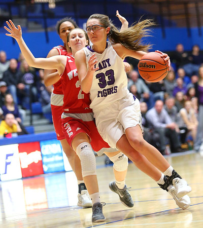 2-3-18<br /> Northwestern vs West Lafayette girls basketball sectional championship<br /> Madison Layden dribbles down the court.<br /> Kelly Lafferty Gerber | Kokomo Tribune