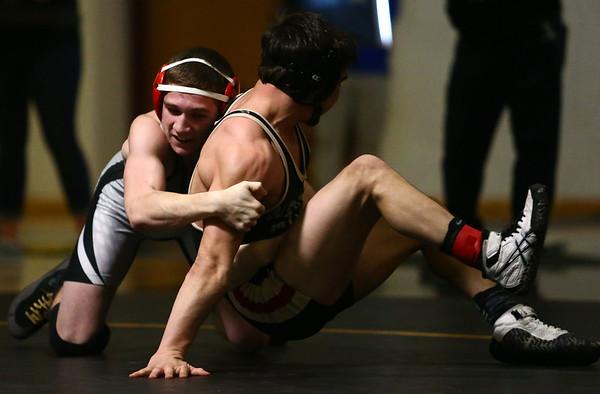 2-3-18<br /> Regional wrestling<br /> Western's Tyler Lechner defeats North Miami's Kasey Deardorff in the 126.<br /> Kelly Lafferty Gerber | Kokomo Tribune