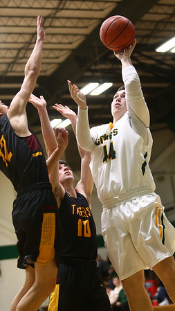 2-13-18<br /> Eastern vs Alexandria boys basketball<br /> Sam Querry goes up for a shot.<br /> Kelly Lafferty Gerber | Kokomo Tribune