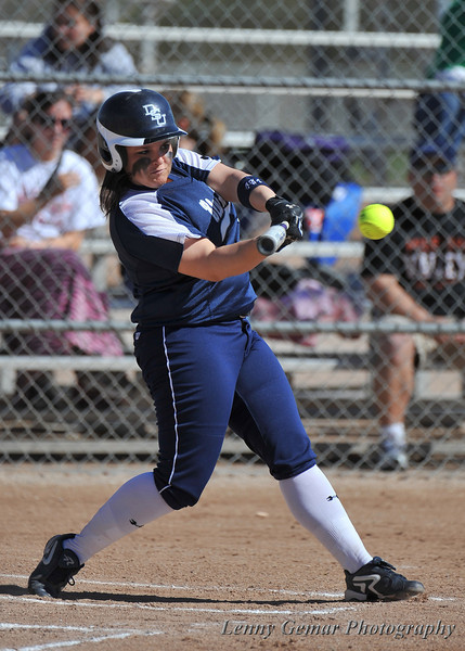 #8 Danielle Crawford gets a hit in the 1st inning. No runs would be scored.