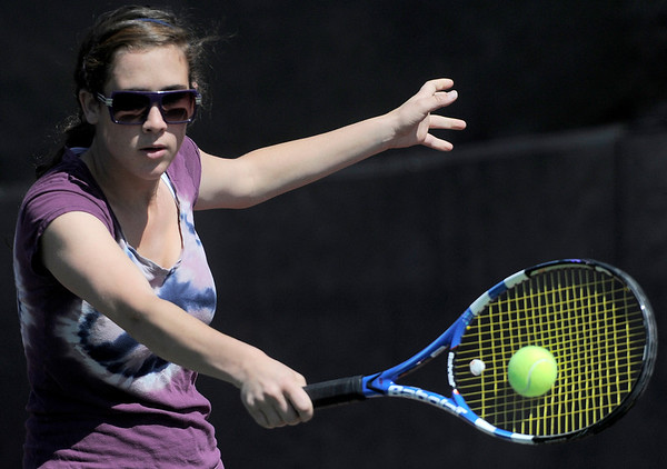 Boulder's Kayla Morrissey returns the ball during her match against Legend's Alexandra Sheppard in the 2011 5A State Tennis at the Gates Tennis Center in Denver, Colorado May 13, 2011.  CAMERA/Mark Leffingwell