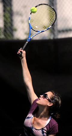 Boulder's Kayla Morrissey servers the ball during her match against Legend's Alexandra Sheppard in the 2011 5A State Tennis at the Gates Tennis Center in Denver, Colorado May 13, 2011.  CAMERA/Mark Leffingwell