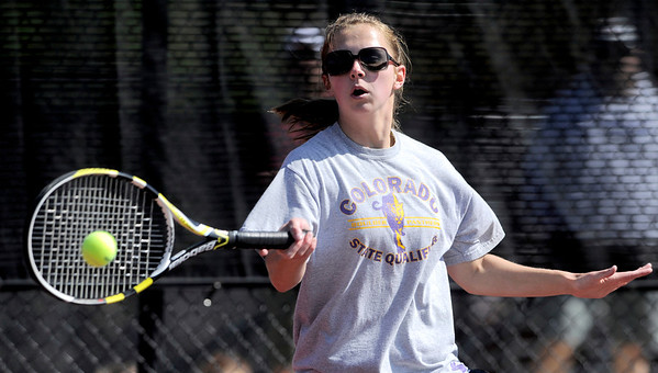 Boulder's Ronnie Myers returns the ball during her match against Doherty's Elise Cimino in the 2011 5A State Tennis at the Gates Tennis Center in Denver, Colorado May 13, 2011.  CAMERA/Mark Leffingwell